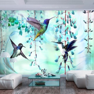 Φωτοταπετσαρία - Flying Hummingbirds (Green)