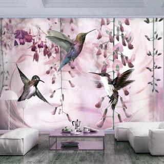 Φωτοταπετσαρία - Flying Hummingbirds (Pink)
