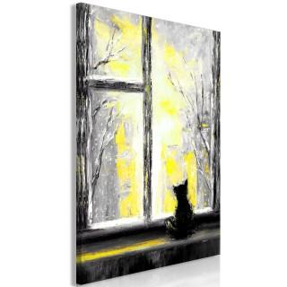 Πίνακας - Longing Kitty (1 Part) Vertical Yellow