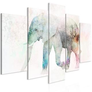 Πίνακας - Painted Elephant (5 Parts) Wide