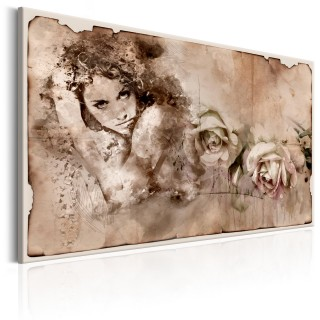 Πίνακας - Retro Style: Woman and Roses