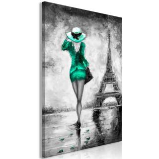 Πίνακας - Parisian Woman (1 Part) Vertical Green
