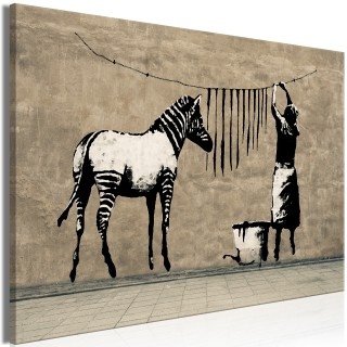 Πίνακας - Banksy: Washing Zebra on Concrete (1 Part) Wide