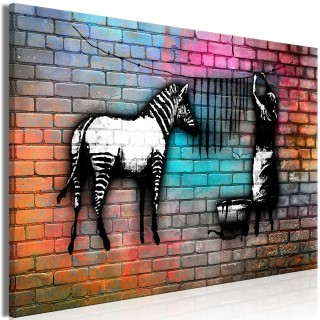 Πίνακας - Washing Zebra - Colourful Brick (1 Part) Wide