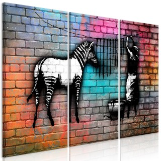 Πίνακας - Washing Zebra - Colourful Brick (3 Parts)