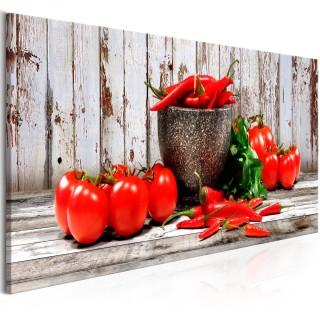 Πίνακας - Red Vegetables (1 Part) Wood Narrow