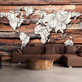 Φωτοταπετσαρία - Map On Wood