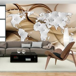 Φωτοταπετσαρία - World Map - White & Diamonds