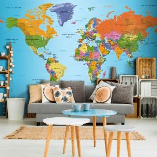 Αυτοκόλλητη φωτοταπετσαρία - World Map: Colourful Geography