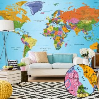Ταπετσαρία XXL - World Map: Colourful Geography II
