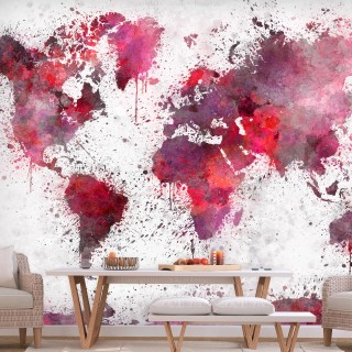 Φωτοταπετσαρία - World Map: Red Watercolors