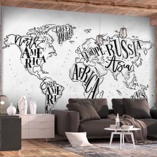 Φωτοταπετσαρία - Retro Continents (Grey)