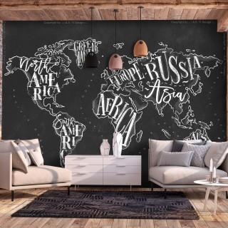 Φωτοταπετσαρία - Retro Continents (Black)