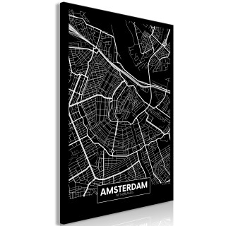 Πίνακας - Dark Map of Amsterdam (1 Part) Vertical