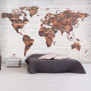 Φωτοταπετσαρία - World Map: Brick Wall
