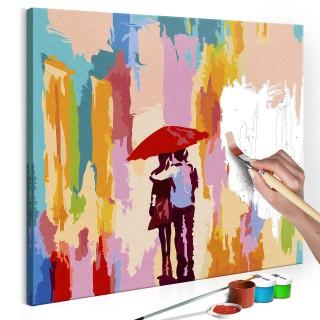 Πίνακας για να τον ζωγραφίζεις - Couple Under An Umbrella (Pink Background)