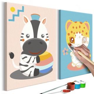 Πίνακας για να τον ζωγραφίζεις - Zebra & Leopard