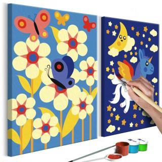 Πίνακας για να τον ζωγραφίζεις - Butterfly & Unicorn