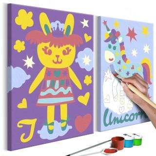 Πίνακας για να τον ζωγραφίζεις - Rabbit & Unicorn