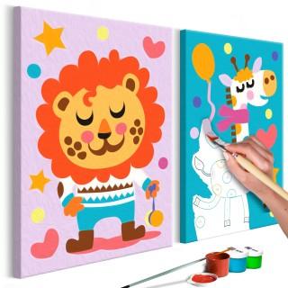 Πίνακας για να τον ζωγραφίζεις - Lion & Giraffe