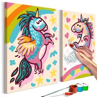Πίνακας για να τον ζωγραφίζεις - Chubby Unicorns