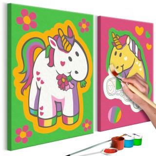 Πίνακας για να τον ζωγραφίζεις - Unicorns (Green & Pink)