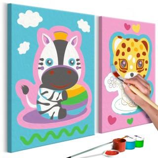 Πίνακας για να τον ζωγραφίζεις - Zebra & Leopard (Pink & Blue)