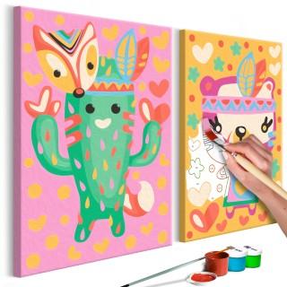 Πίνακας για να τον ζωγραφίζεις - Cactus & Bear