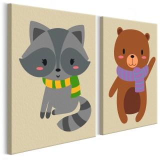 Πίνακας για να τον ζωγραφίζεις - Raccoon & Bear