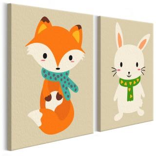 Πίνακας για να τον ζωγραφίζεις - Fox & Bunny