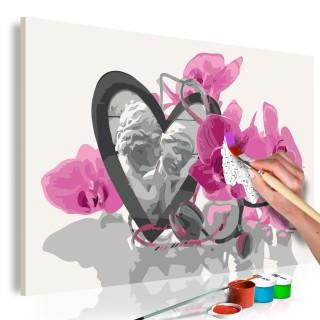 Πίνακας για να τον ζωγραφίζεις - Angels (Heart & Pink Orchid)