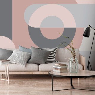 Αυτοκόλλητη φωτοταπετσαρία - Geometric Wreath (Pink)