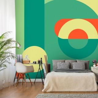 Αυτοκόλλητη φωτοταπετσαρία - Geometric Wreath (Green)