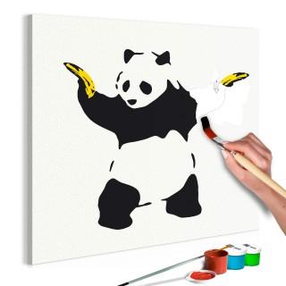 Πίνακας για να τον ζωγραφίζεις - Panda With Bananas