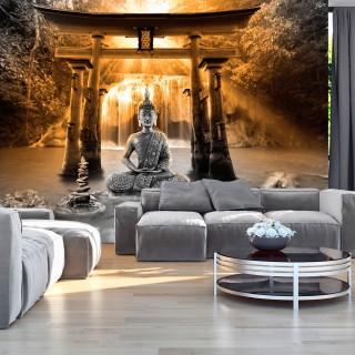 Αυτοκόλλητη φωτοταπετσαρία - Buddha Smile (Orange)