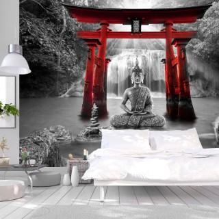 Αυτοκόλλητη φωτοταπετσαρία - Buddha Smile (Red)