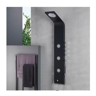 Στήλη Ντούς-Υδρομασάζ Icos Shower Lete Θερμομικτική Black Matt 4 Εξόδων