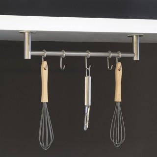 Κρεμάστρα σκευών κουζίνας Ανοξείδωτη με 5 άγκιστρα και Αυτοκόλλητη στερέωση Emuca 8938965