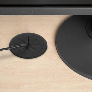 Πλαστική Τάπα καλωδίων Γραφείου εύκαμπτο ελαστικό εσωτερικό δακτύλιο Ø60mm Emuca 3920217 Roundot Μαύρη