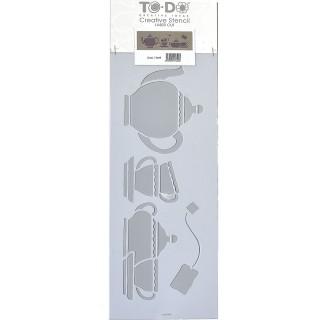 Stencil για Διακόσμηση Τοίχου Tea Time ToDo Creative Ideas 15x40cm 71649