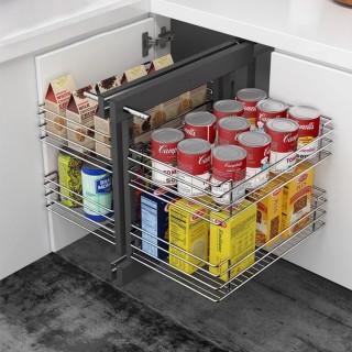 Μηχανισμός κουζίνας Magic corner με φρένο και συρμάτινα καλάθια ολικής εξαγωγής