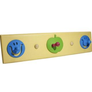 Κρεμάστρα  3 Θέσεων ξύλινη με κίτρινη δερματίνη  και παιδικά σχέδια