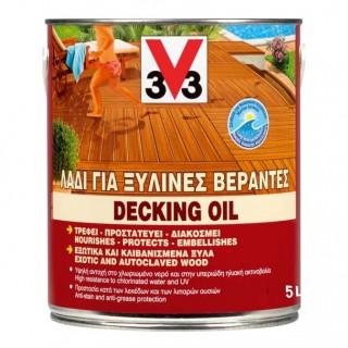 Λάδι DECKING OIL Ματ Δαπέδου και Περίφραξης V33 5lt Teak Χρώμα