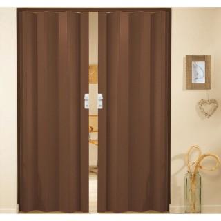 Δίφυλλη πτυσσόμενη πόρτα πλαστική Zitaflex Μονόχρωμη Μαόνι 14Α χωρίς τζαμάκι