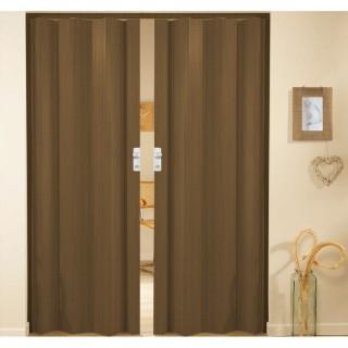 Δίφυλλη πτυσσόμενη πόρτα πλαστική Zitaflex χρώμα Ξύλου Καρυδιά 12 χωρίς τζαμάκι