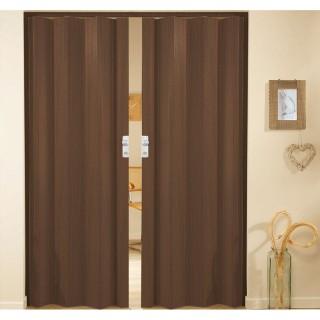 Δίφυλλη πτυσσόμενη πόρτα πλαστική Zitaflex χρώμα Ξύλου Καρυδιά Σκούρο 14 χωρίς τζαμάκι
