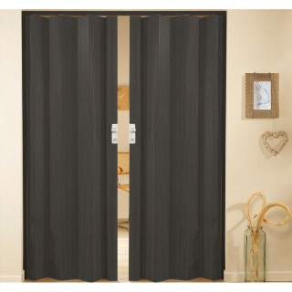 Δίφυλλη πτυσσόμενη πόρτα πλαστική Zitaflex χρώμα Ξύλου Μαύρο Δρύς 18 χωρίς τζαμάκι