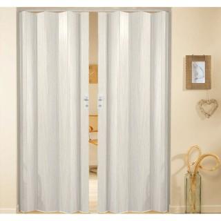 Δίφυλλη πτυσσόμενη πόρτα πλαστική Zitaflex χρώμα Ξύλου Λευκό Δρύς 19 χωρίς τζαμάκι