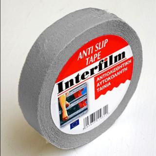 Αυτοκόλλητη αντιολισθητική ταινία Γκρί 25mm x 5m Interfilm