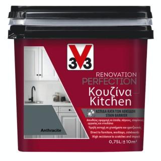 Χρώμα Νερού Ανακαίνισης Κουζίνας V33 RENOVATION PERFECTION KITCHEN 0,75LT Anthracite